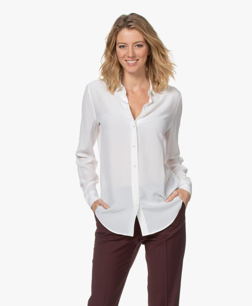 white silk blouse